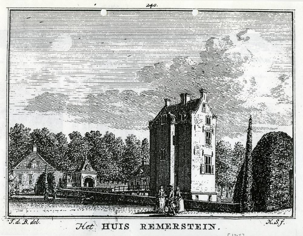 Kasteel Remmerstein in Rhenen. Tekening Jan de Beijer, gravure Hendrik Spilman (Uit: Het Verheerlykt Nederland, Isaac Tirion, 1745/1774)